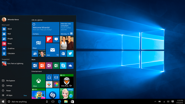 windows10 ecran